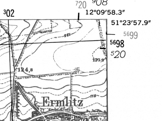Reduced fragment of topographic map de--mb--025k--46_038-ams--(1952)--N051-24_E012-00--N051-18_E012-10