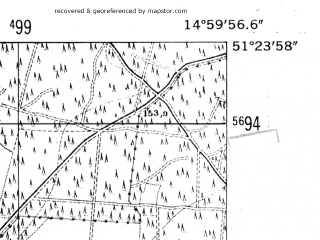 Reduced fragment of topographic map de--mb--025k--46_055-ams--(1952)--N051-24_E014-50--N051-18_E015-00