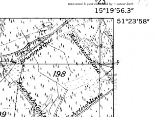 Reduced fragment of topographic map de--mb--025k--46_057-ams--(1952)--N051-24_E015-10--N051-18_E015-20