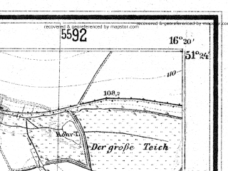 Reduced fragment of topographic map de--mb--025k--46_063--(1933)--N051-24_E016-10--N051-18_E016-20; towns and cities Lubin