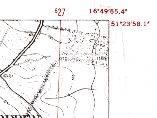 Reduced fragment of topographic map de--mb--025k--46_066-ams--(1952)--N051-24_E016-40--N051-18_E016-50