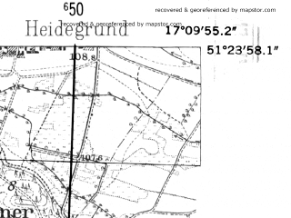Reduced fragment of topographic map de--mb--025k--46_068-ams--(1952)--N051-24_E017-00--N051-18_E017-10