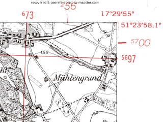Reduced fragment of topographic map de--mb--025k--46_070-ams--(1952)--N051-24_E017-20--N051-18_E017-30; towns and cities Twardogora