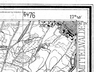 Reduced fragment of topographic map de--mb--025k--46_071--(1940)--N051-24_E017-30--N051-18_E017-40; towns and cities Miedzyborz
