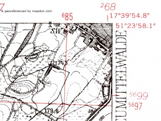 Reduced fragment of topographic map de--mb--025k--46_071-ams--(1952)--N051-24_E017-30--N051-18_E017-40; towns and cities Miedzyborz