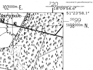Reduced fragment of topographic map de--mb--025k--46_074-ams--(1952)--N051-24_E018-00--N051-18_E018-10