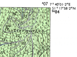 Reduced fragment of topographic map de--mb--025k--47_011-ams--(1955)--N051-18_E007-30--N051-12_E007-40; towns and cities Ludenscheid