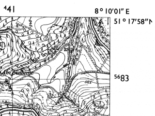 Reduced fragment of topographic map de--mb--025k--47_014-ams--(1955)--N051-18_E008-00--N051-12_E008-10