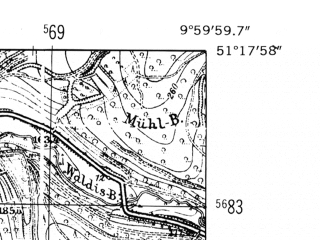 Reduced fragment of topographic map de--mb--025k--47_025-ams--(1952)--N051-18_E009-50--N051-12_E010-00