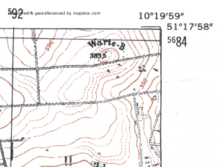 Reduced fragment of topographic map de--mb--025k--47_027-ams--(1954)--N051-18_E010-10--N051-12_E010-20