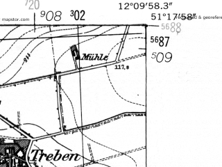 Reduced fragment of topographic map de--mb--025k--47_038-ams--(1952)--N051-18_E012-00--N051-12_E012-10