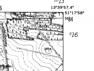 Reduced fragment of topographic map de--mb--025k--47_047-ams--(1952)--N051-18_E013-30--N051-12_E013-40