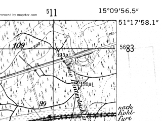 Reduced fragment of topographic map de--mb--025k--47_056-ams--(1952)--N051-18_E015-00--N051-12_E015-10