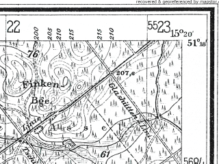 Reduced fragment of topographic map de--mb--025k--47_057--(1929)--N051-18_E015-10--N051-12_E015-20; towns and cities Wegliniec