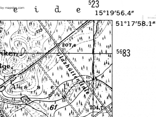 Reduced fragment of topographic map de--mb--025k--47_057-ams--(1952)--N051-18_E015-10--N051-12_E015-20; towns and cities Wegliniec