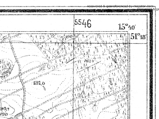 Reduced fragment of topographic map de--mb--025k--47_059--(1943)--N051-18_E015-30--N051-12_E015-40; towns and cities Boleslawiec