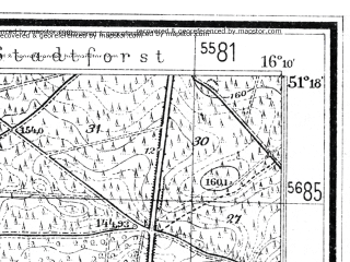 Reduced fragment of topographic map de--mb--025k--47_062--(1933)--N051-18_E016-00--N051-12_E016-10; towns and cities Legnica