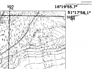 Reduced fragment of topographic map de--mb--025k--47_063-ams--(1952)--N051-18_E016-10--N051-12_E016-20