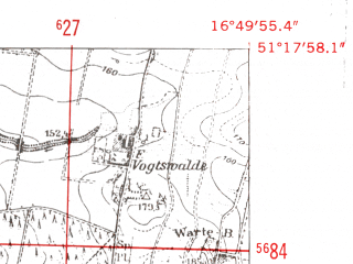 Reduced fragment of topographic map de--mb--025k--47_066-ams--(1952)--N051-18_E016-40--N051-12_E016-50; towns and cities Brzeg Dolny