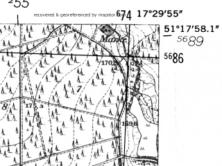 Reduced fragment of topographic map de--mb--025k--47_070-ams--(1952)--N051-18_E017-20--N051-12_E017-30; towns and cities Olesnica