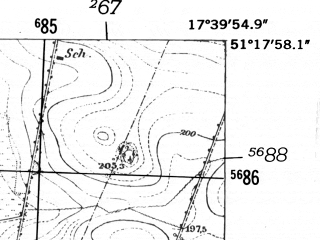 Reduced fragment of topographic map de--mb--025k--47_071-ams--(1952)--N051-18_E017-30--N051-12_E017-40