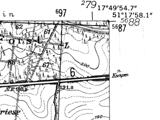 Reduced fragment of topographic map de--mb--025k--47_072-ams--(1952)--N051-18_E017-40--N051-12_E017-50
