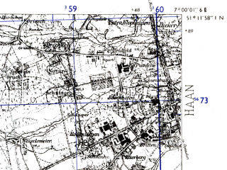 Reduced fragment of topographic map de--mb--025k--48_007-ams--(1955)--N051-12_E006-50--N051-06_E007-00; towns and cities Langenfeld
