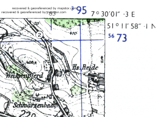 Reduced fragment of topographic map de--mb--025k--48_010-ams--(1955)--N051-12_E007-20--N051-06_E007-30 in area of Bever Stausee