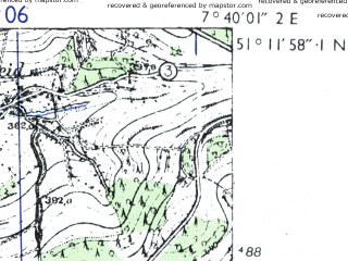Reduced fragment of topographic map de--mb--025k--48_011-ams--(1955)--N051-12_E007-30--N051-06_E007-40