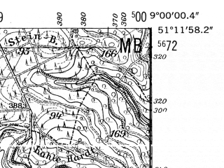 Reduced fragment of topographic map de--mb--025k--48_019-ams--(1952)--N051-12_E008-50--N051-06_E009-00