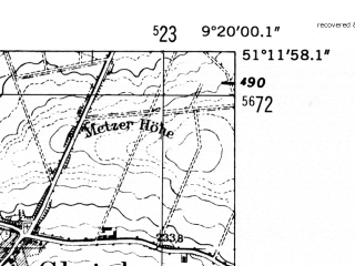 Reduced fragment of topographic map de--mb--025k--48_021-ams--(1952)--N051-12_E009-10--N051-06_E009-20