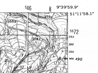 Reduced fragment of topographic map de--mb--025k--48_023-ams--(1952)--N051-12_E009-30--N051-06_E009-40