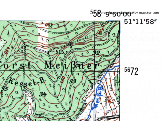 Reduced fragment of topographic map de--mb--025k--48_024-ams--(1954)--N051-12_E009-40--N051-06_E009-50