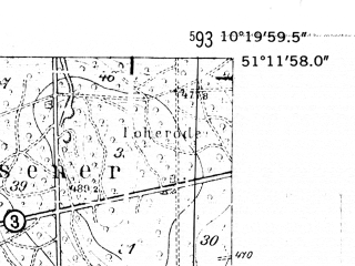 Reduced fragment of topographic map de--mb--025k--48_027-ams--(1952)--N051-12_E010-10--N051-06_E010-20