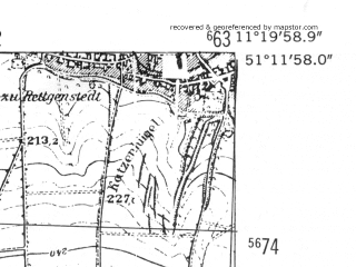 Reduced fragment of topographic map de--mb--025k--48_033-ams--(1952)--N051-12_E011-10--N051-06_E011-20