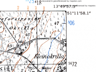Reduced fragment of topographic map de--mb--025k--48_048-ams--(1952)--N051-12_E013-40--N051-06_E013-50