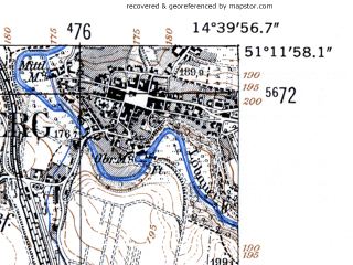 Reduced fragment of topographic map de--mb--025k--48_053-ams--(1952)--N051-12_E014-30--N051-06_E014-40; towns and cities Lobau