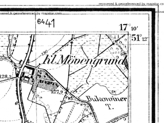 Reduced fragment of topographic map de--mb--025k--48_068--(1942)--N051-12_E017-00--N051-06_E017-10; towns and cities Wroclaw