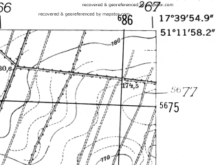 Reduced fragment of topographic map de--mb--025k--48_071-ams--(1952)--N051-12_E017-30--N051-06_E017-40