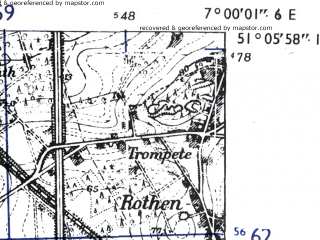 Reduced fragment of topographic map de--mb--025k--49_007-ams--(1955)--N051-06_E006-50--N051-00_E007-00; towns and cities Dormagen
