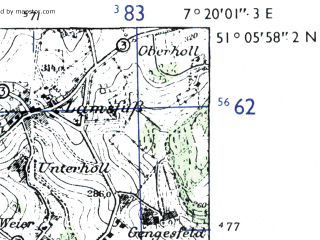 Reduced fragment of topographic map de--mb--025k--49_009-ams--(1955)--N051-06_E007-10--N051-00_E007-20