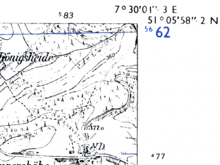 Reduced fragment of topographic map de--mb--025k--49_010-ams--(1955)--N051-06_E007-20--N051-00_E007-30