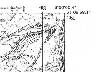 Reduced fragment of topographic map de--mb--025k--49_018-ams--(1952)--N051-06_E008-40--N051-00_E008-50
