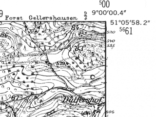 Reduced fragment of topographic map de--mb--025k--49_019-ams--(1952)--N051-06_E008-50--N051-00_E009-00