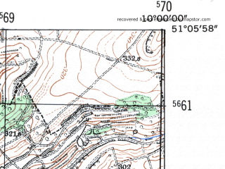 Reduced fragment of topographic map de--mb--025k--49_025-ams--(1954)--N051-06_E009-50--N051-00_E010-00