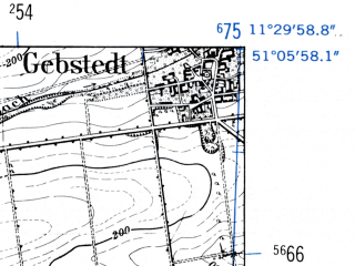 Reduced fragment of topographic map de--mb--025k--49_034-ams--(1952)--N051-06_E011-20--N051-00_E011-30; towns and cities Apolda