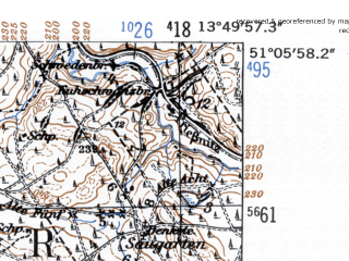 Reduced fragment of topographic map de--mb--025k--49_048-ams--(1952)--N051-06_E013-40--N051-00_E013-50; towns and cities Dresden