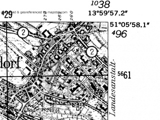 Reduced fragment of topographic map de--mb--025k--49_049-ams--(1952)--N051-06_E013-50--N051-00_E014-00