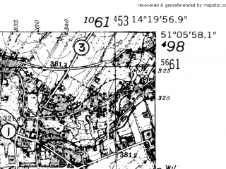 Reduced fragment of topographic map de--mb--025k--49_051-ams--(1952)--N051-06_E014-10--N051-00_E014-20