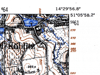 Reduced fragment of topographic map de--mb--025k--49_052-ams--(1952)--N051-06_E014-20--N051-00_E014-30